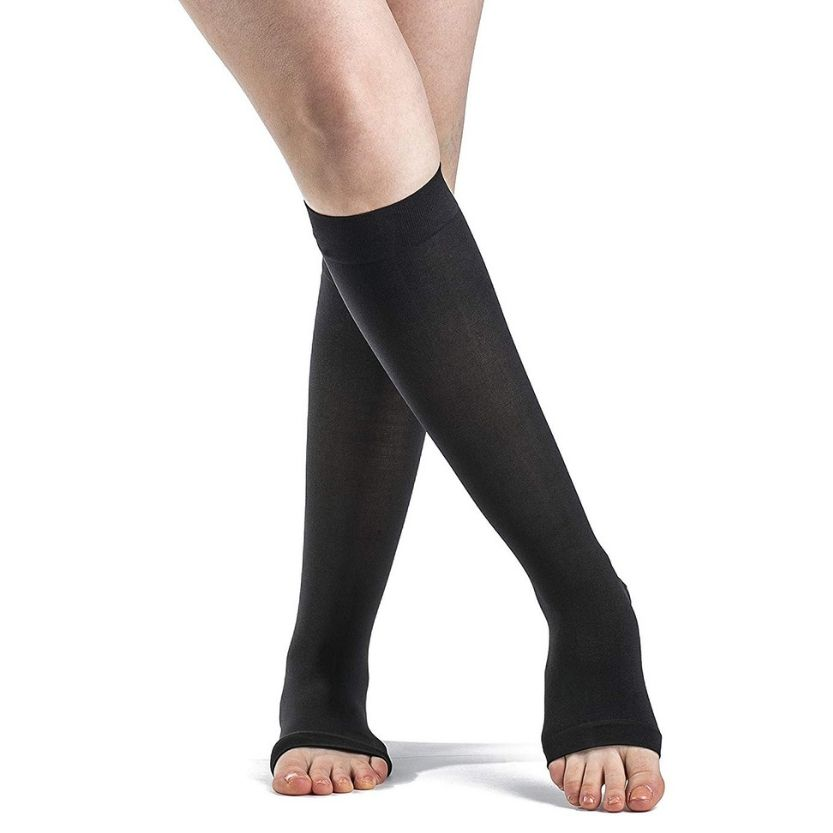Sigvaris Women's SOFT OPAQUE Calf Open Toe Socks