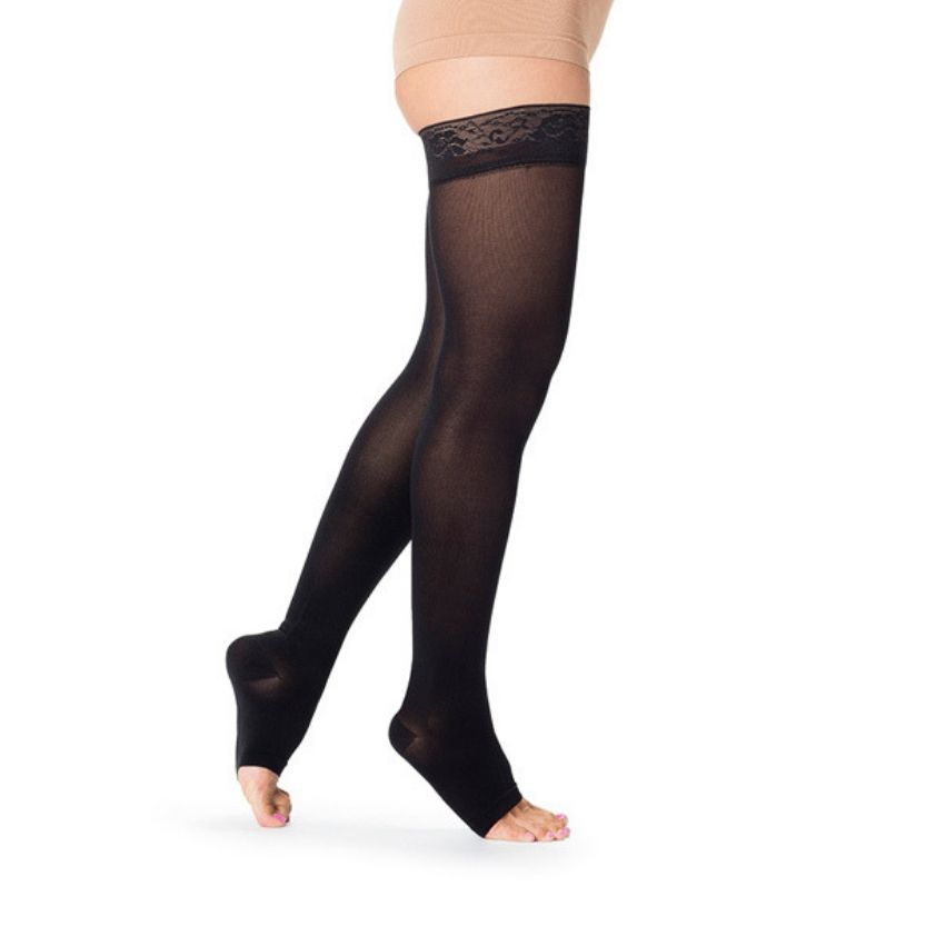 Sigvaris Soft Opaque Thigh High Open Toe