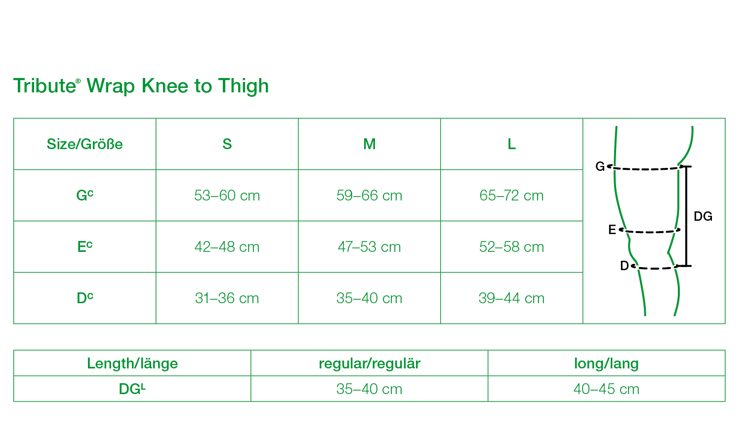 Tribute Wrap Knee to Thigh Size Chart