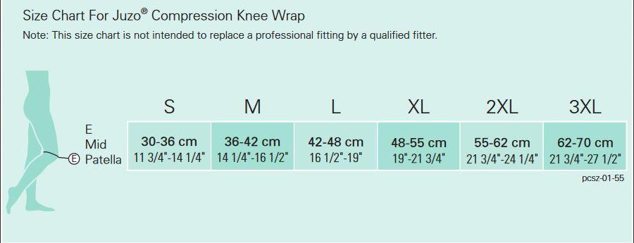 Juzo Knee Wrap Size Chart