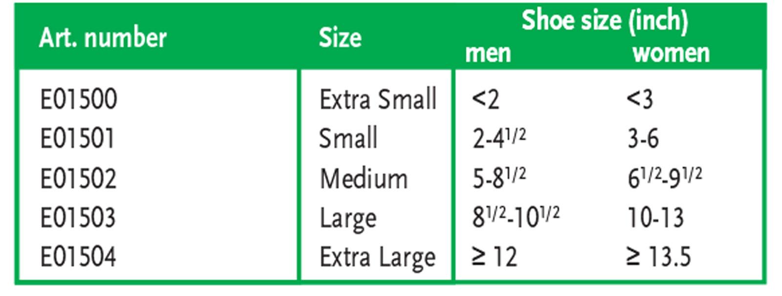 BSN Jobst Easy Slide Sizing Chart