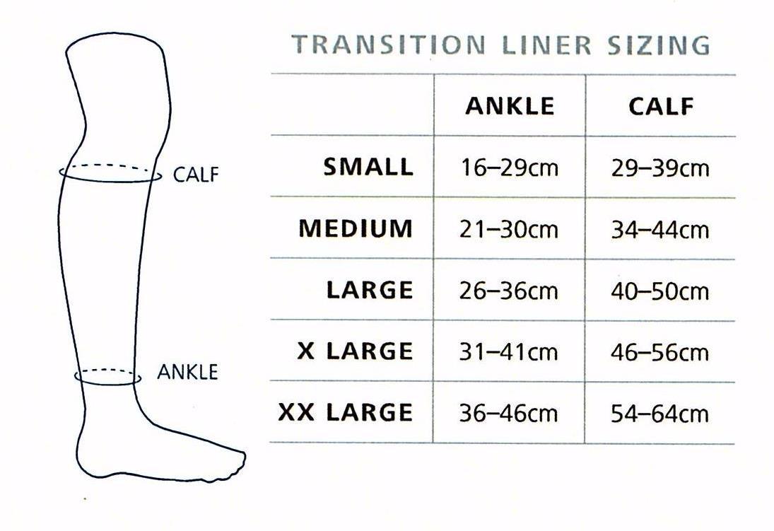 Sigvaris Transition Liner size chart