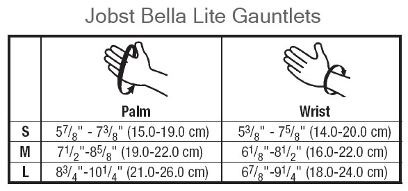 BSN Jobst Bella Lite Gauntlet sizes