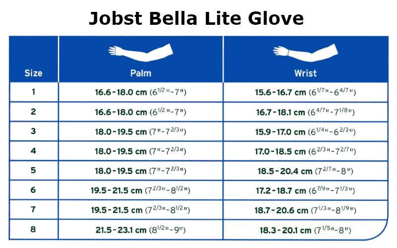 Jobst Bella Lite Glove Size Chart