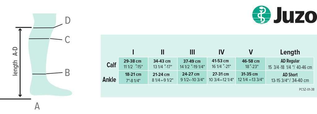 Juzo Assist Knee Size Chart